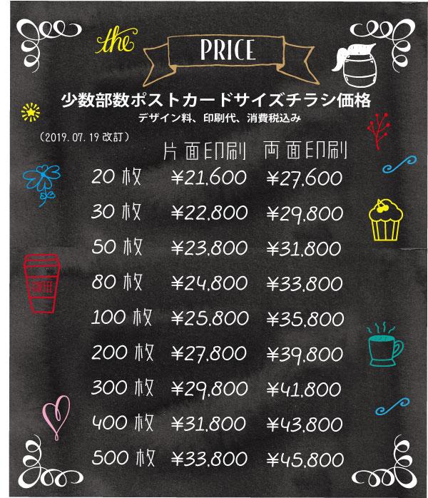 ポストカードサイズチラシ価格表